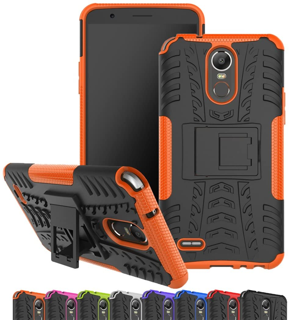 LG Stylo 3 Case, Viodolge [Shockproof] Hybrid Tough Rugged Dual Layer Protective Phone Case Cover with Kickstand for LG G Stylo 3/ LG Stylus 3(2017 Released) (Orange)