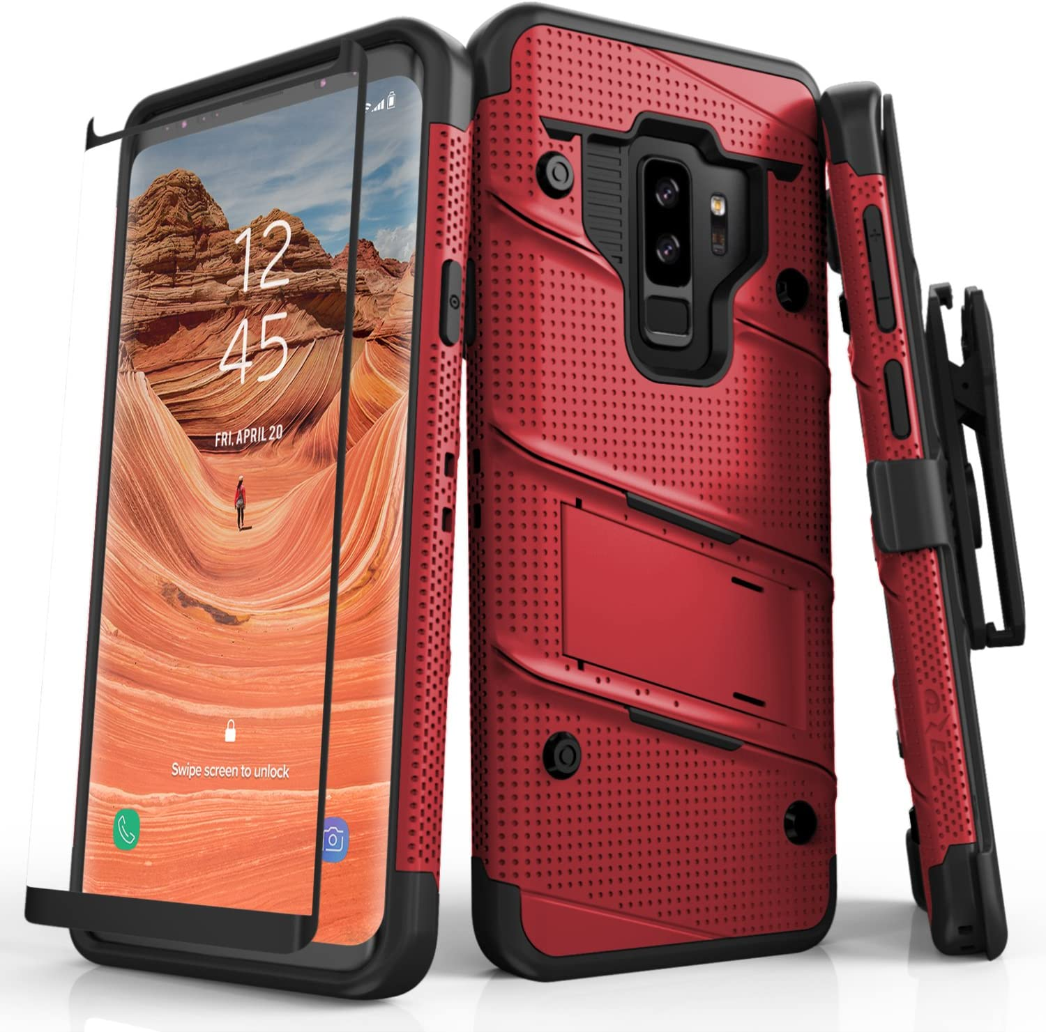 ZIZO Bolt Series for Samsung Galaxy S9 Plus Case Military Grade Drop Tested with Tempered Glass Screen Protector Holster RED Black