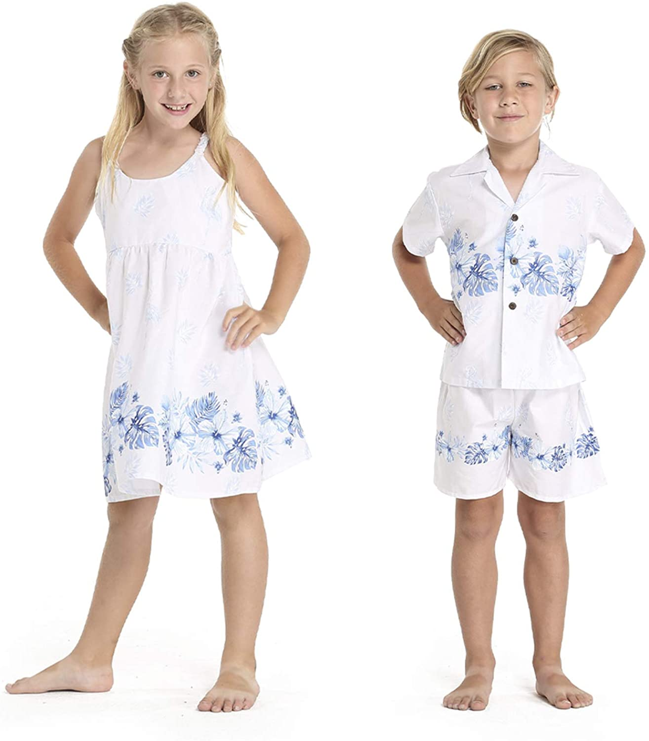 Matching Boy and Girl Siblings Hawaiian Luau Outfits in Various Patterns