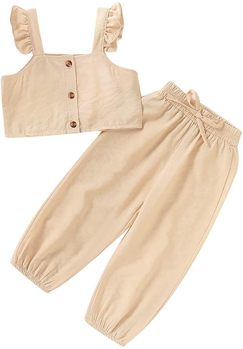 Toddler Baby Girl Clothes Solid Color Button Down Strap Crop Top+Elastic Waist Pants 2PCS Summer Outfit Set