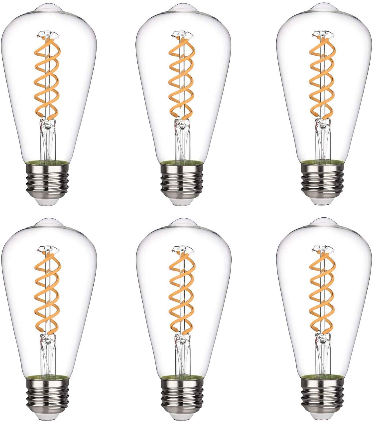 Emitting 4.5W Dimmable 450LM Warm White 2700K, ST21/ST64 Vintage Edison LED Bulb, Antique LED Filament Light Bulb, 50W Equivalent, E26 Base, Clear Glass (4.5W-2700K-6 Pack)