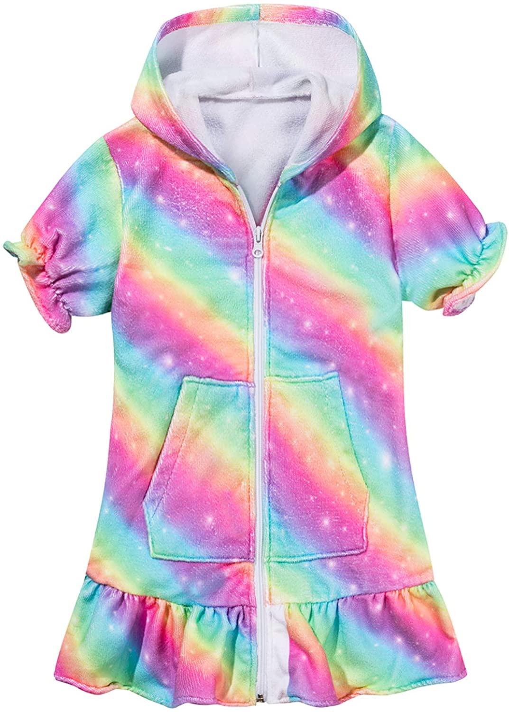 Kid Girls Hooded Zip Terry Cover-up Beach Swimsuit Dress Swimwear Robe