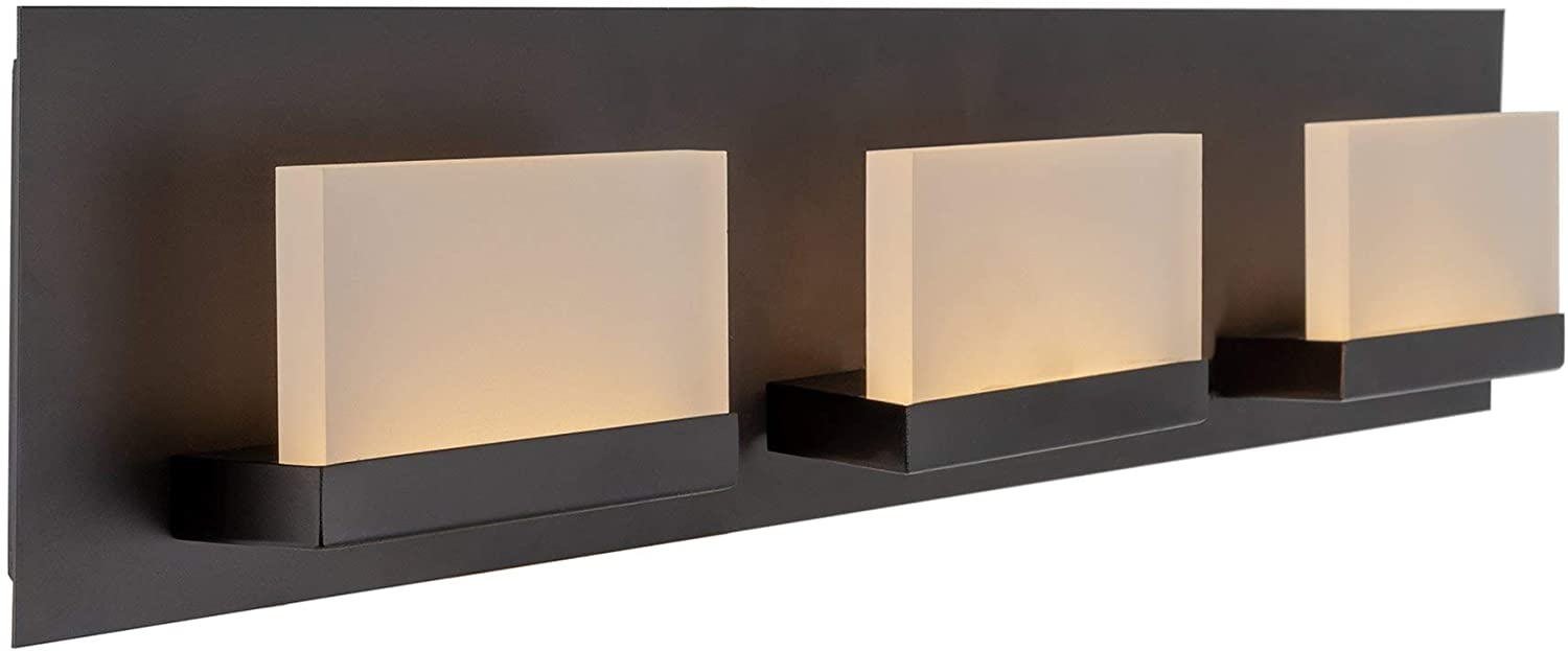 Kira Home Everett 24 Modern 3-Light 19W Integrated LED (180W eq.) Bathroom/Vanity Light, Rectangular Acrylic Lenses, Energy Efficient, Eco-Friendly, 3000k Warm White Light, Oil Rubbed Bronze Finish