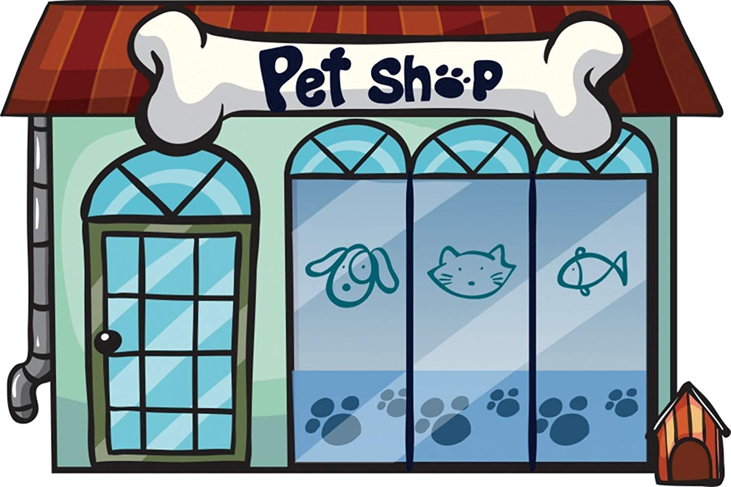 Leowefowa 8x6.5ft Cartoon Pet Shop Storefront Backdrop Vinyl Boy 1st Birthday Party Photography Background School Play Background Pets Photo Booth Props Child Baby Slumber Party Banner