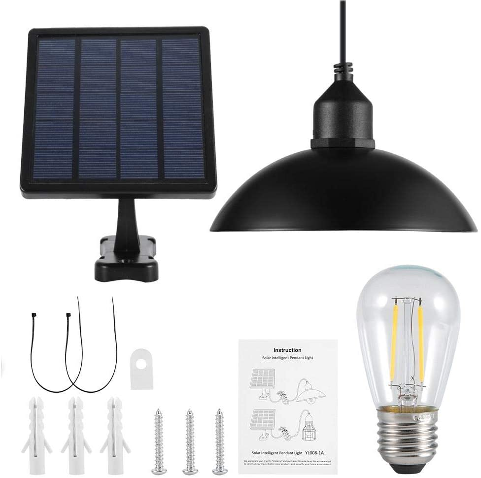 Vintage Hanging Metal Shade Solar Powered Pendant Light with Accessory Kit, E27 Bulb Outdoor Hanging Shed Lamp with Changeable Solar Panel for Home Garden
