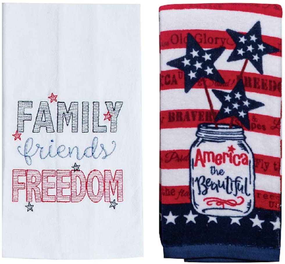 Kay Dee Designs 2 Piece Family Friends Freedom Patriotic Kitchen Bundle - 1 Fiber Reactive Terry Towel and 1 Flour Sack Towel