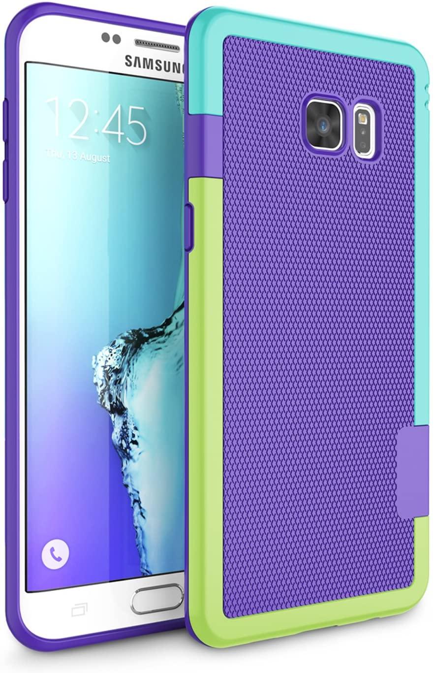 Galaxy S6 Edge Plus Case, Zectoo Shockproof Phone Cover, Galaxy S6 Edge Plus Cover, Slim Rugged TPU Bumper Case Flexible Enhanced Texture Protective Armor for Samsung Galaxy S6 Edge Plus G928 - Purple