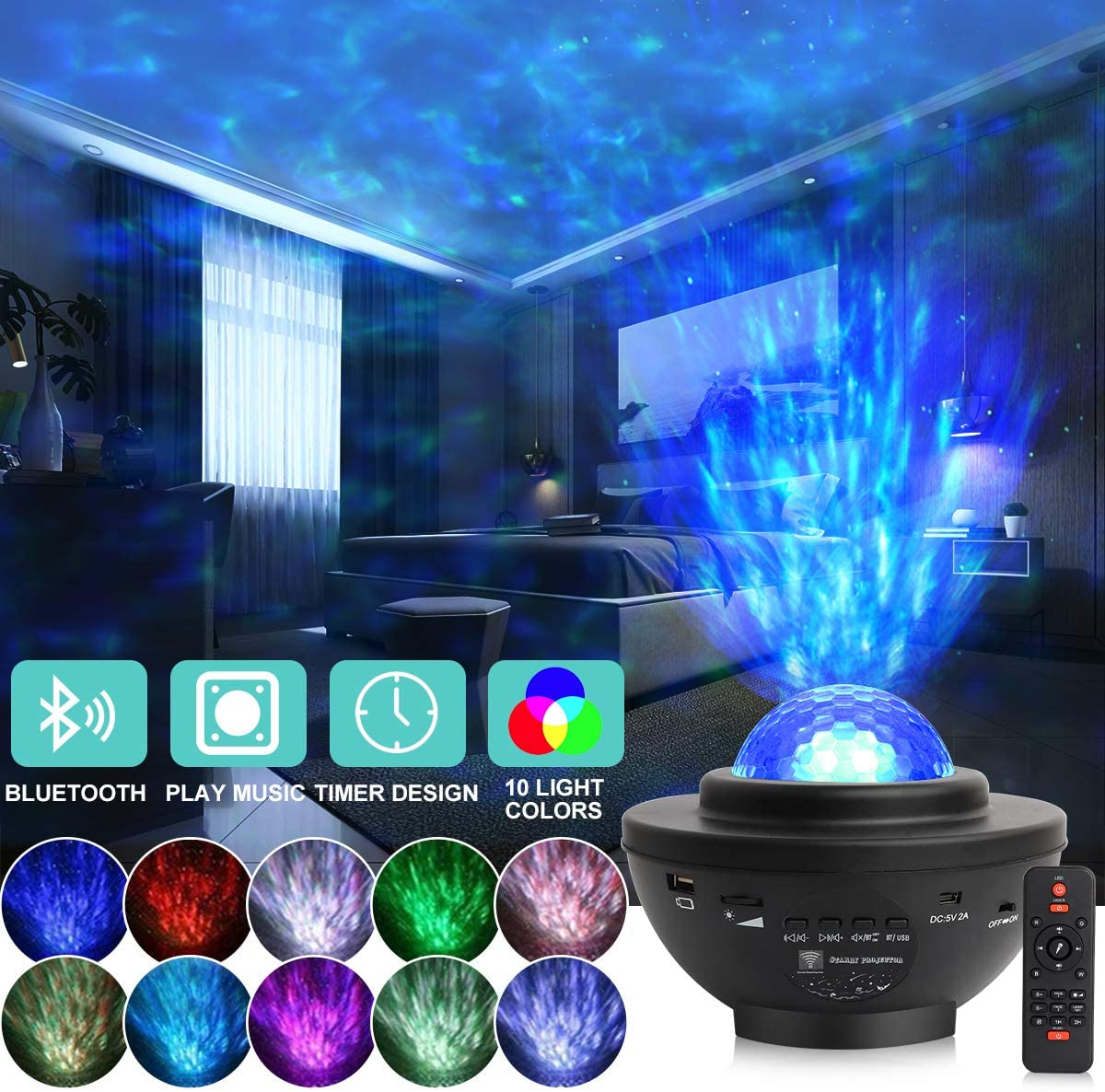 Star Projector, Starry Galaxy Night Light Projector for Bedroom Ocean Wave Star Night Light Projector with Bluetooth Music Speaker & Voice Control 10 Color Sky Light Projector for Kids Adults