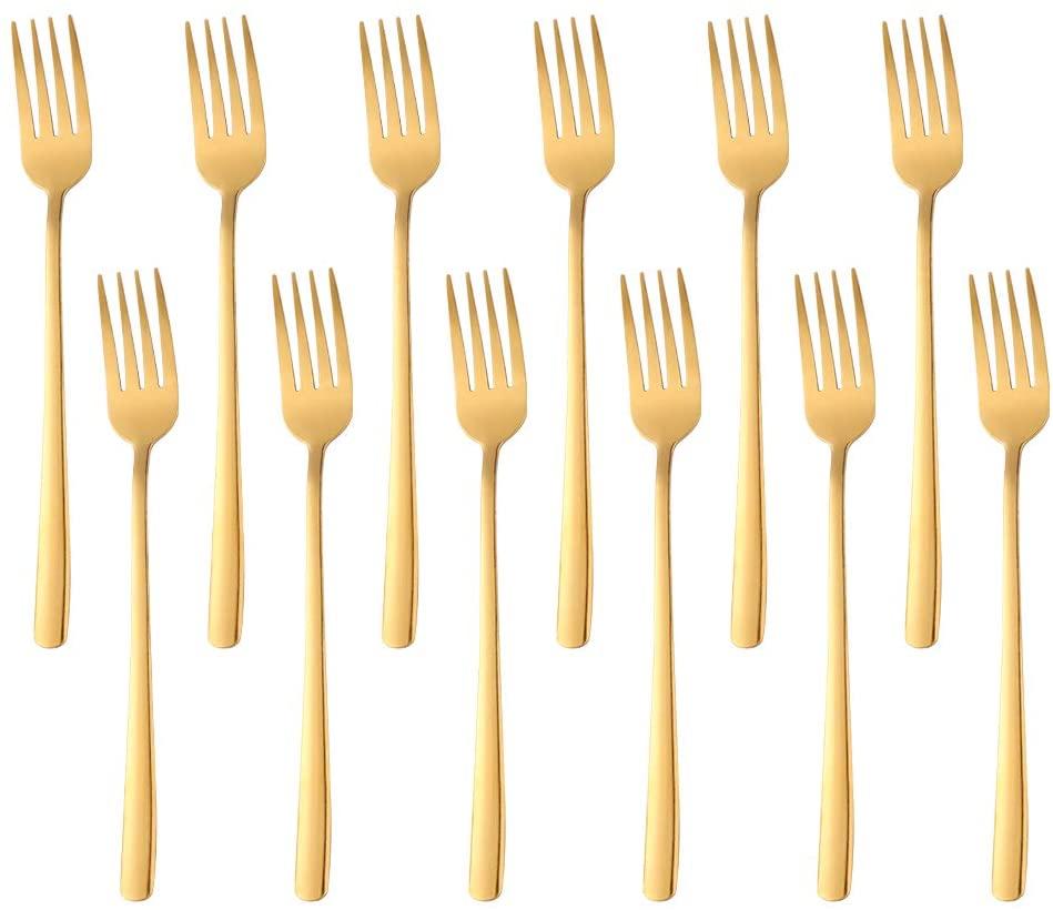 Dessert Fork Slim Handle Dinner Forks Set of 12, BUY&USE 8-Inch Stainless Steel Gold Dinnerware