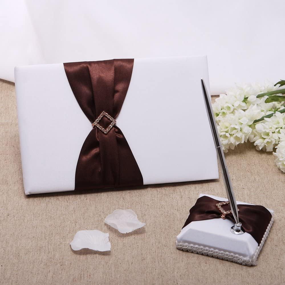 KateMelon Brown Sash Wedding Guest Book and Pen Set