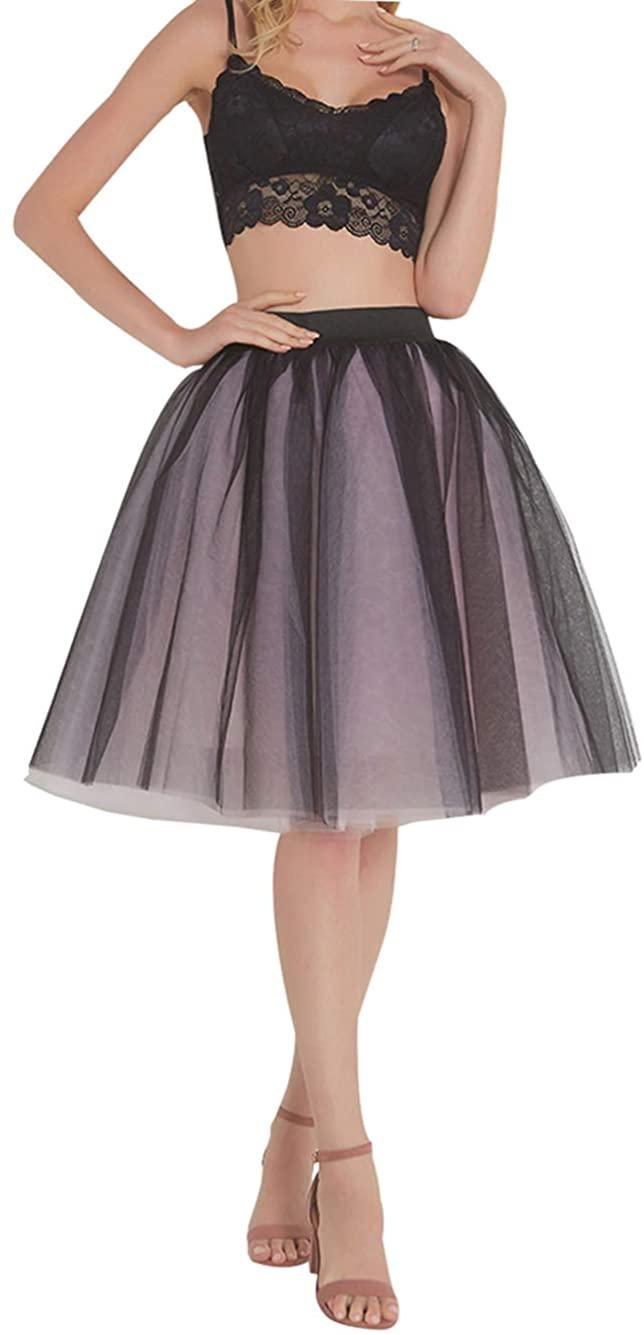FEOYA Women Tutu Skirts 5 Layered Knee Length Tulle Skirt A-line Pleated Princess Skirts Evening Gown Prom Wedding Skirt