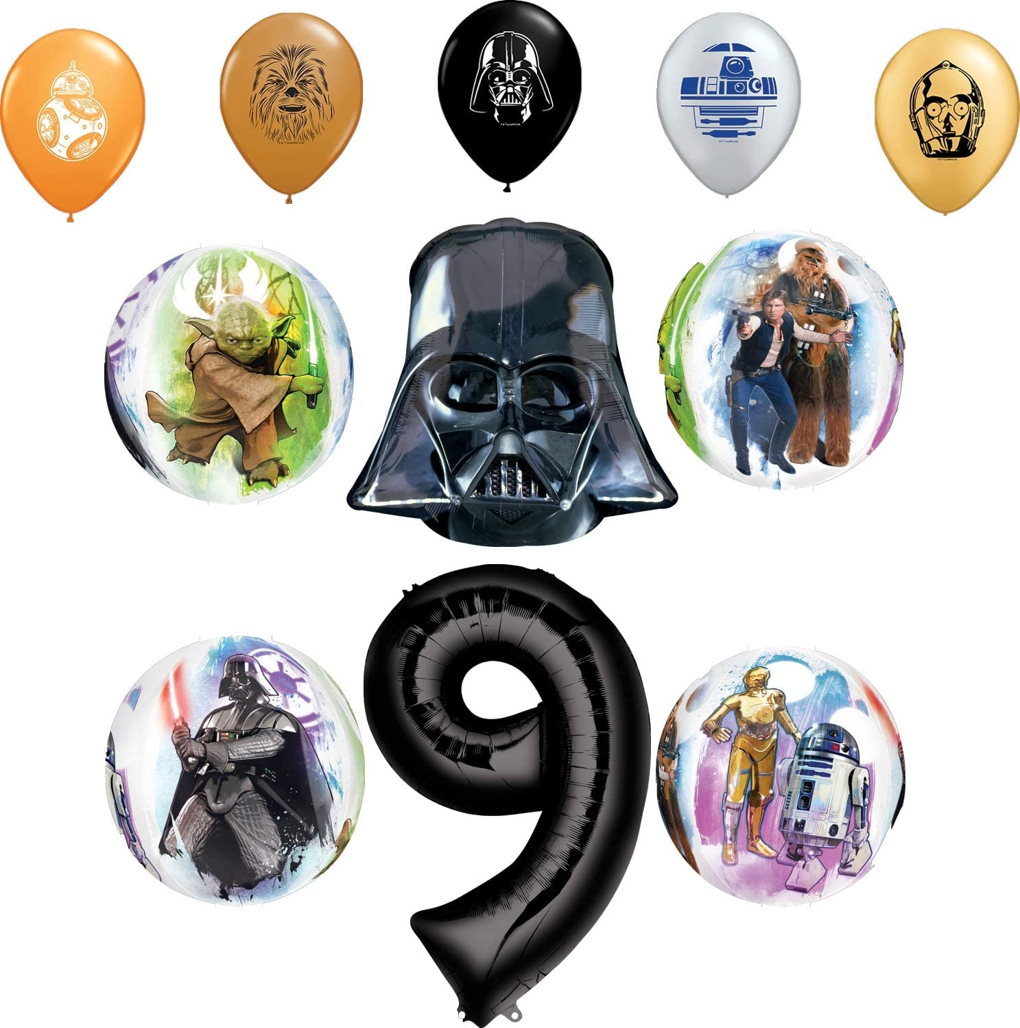 Star Wars Party Supplies 9th Birthday Orbz Balloon Bouquet Decorations and 11