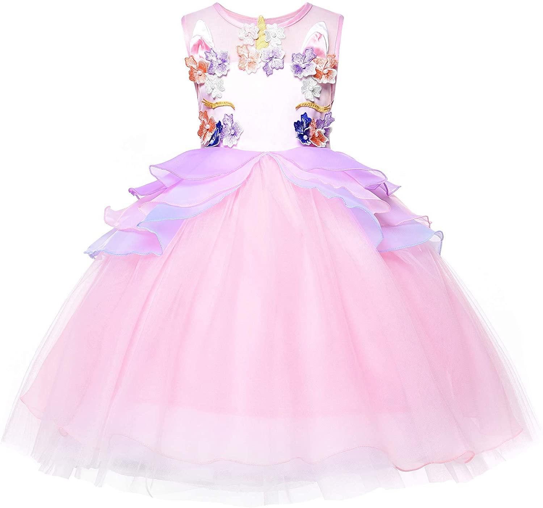 JerrisApparel Girl Unicorn Tutu Dress Halloween Pageant Princess Costume Dress (6, Pink)