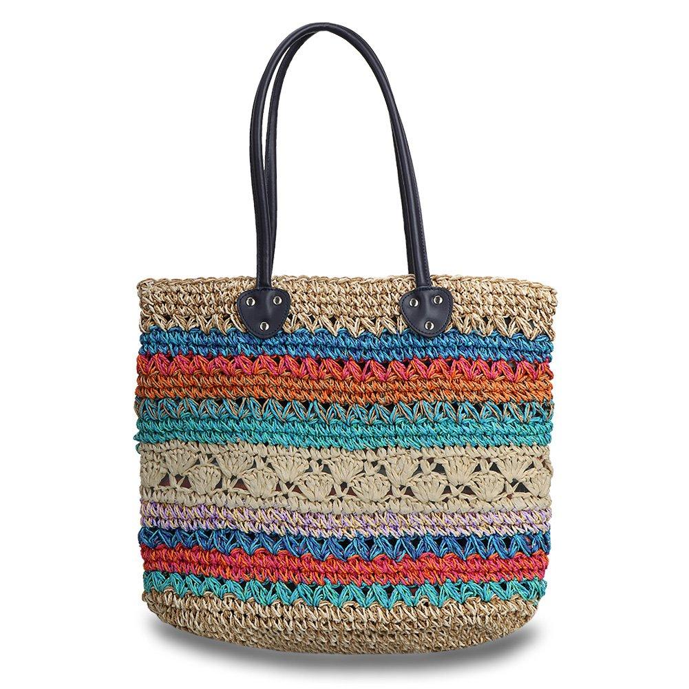 Hogoo Womens Straw Market Tote Bag Colorful Large Woven Beach Crossbody Handbags