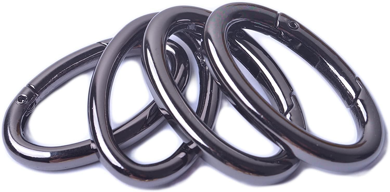 Bobeey 4pcs 37x19mm Spring Oval Rings,Black Gun Oval Carabiner Snap Clip Trigger Spring Keyring Buckle,Oval Ring for Bags,Purses BBC8 (Black Gun) …
