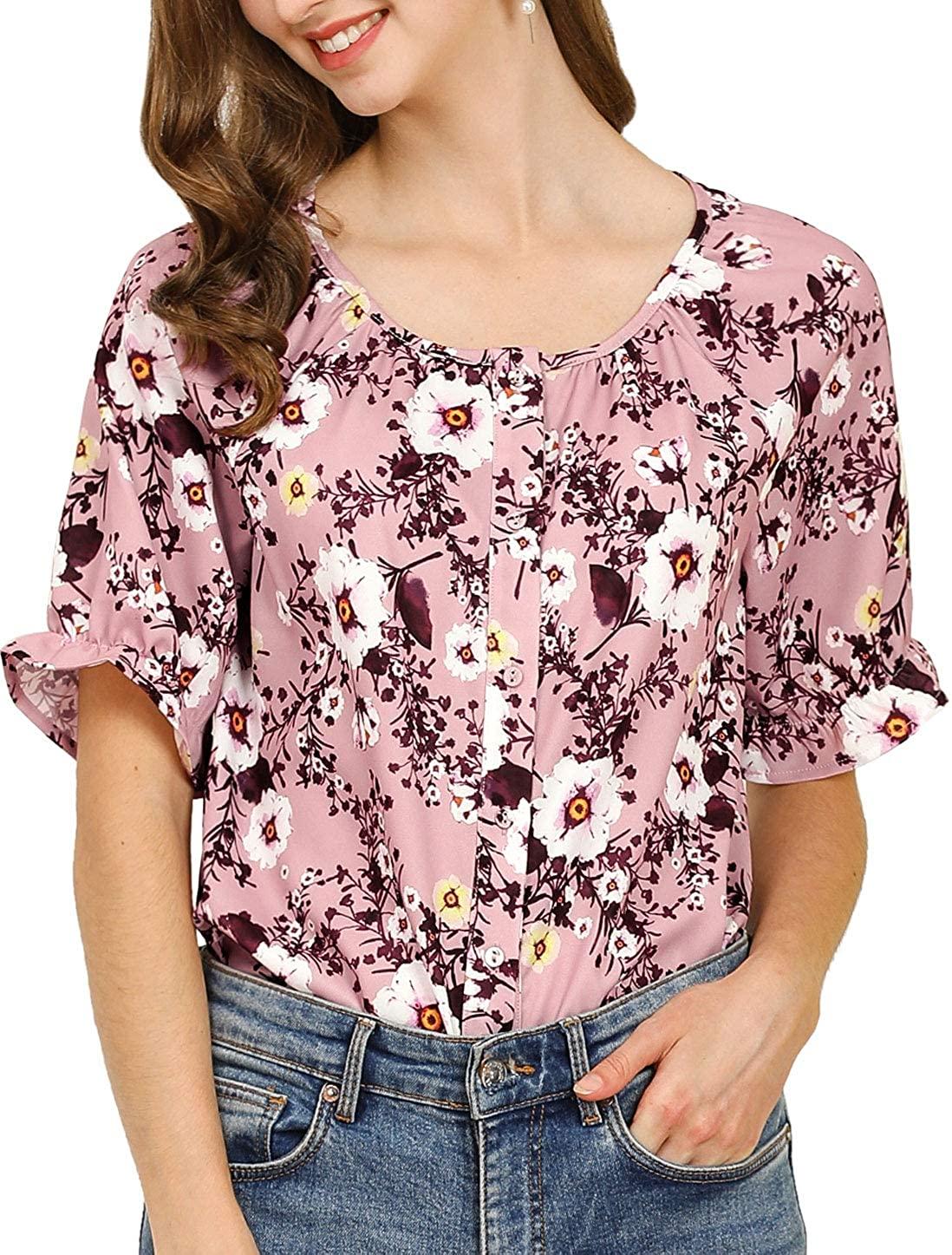 Allegra K Women's Button Tops Puff Sleeve Ruffle Cuff Floral Shirts