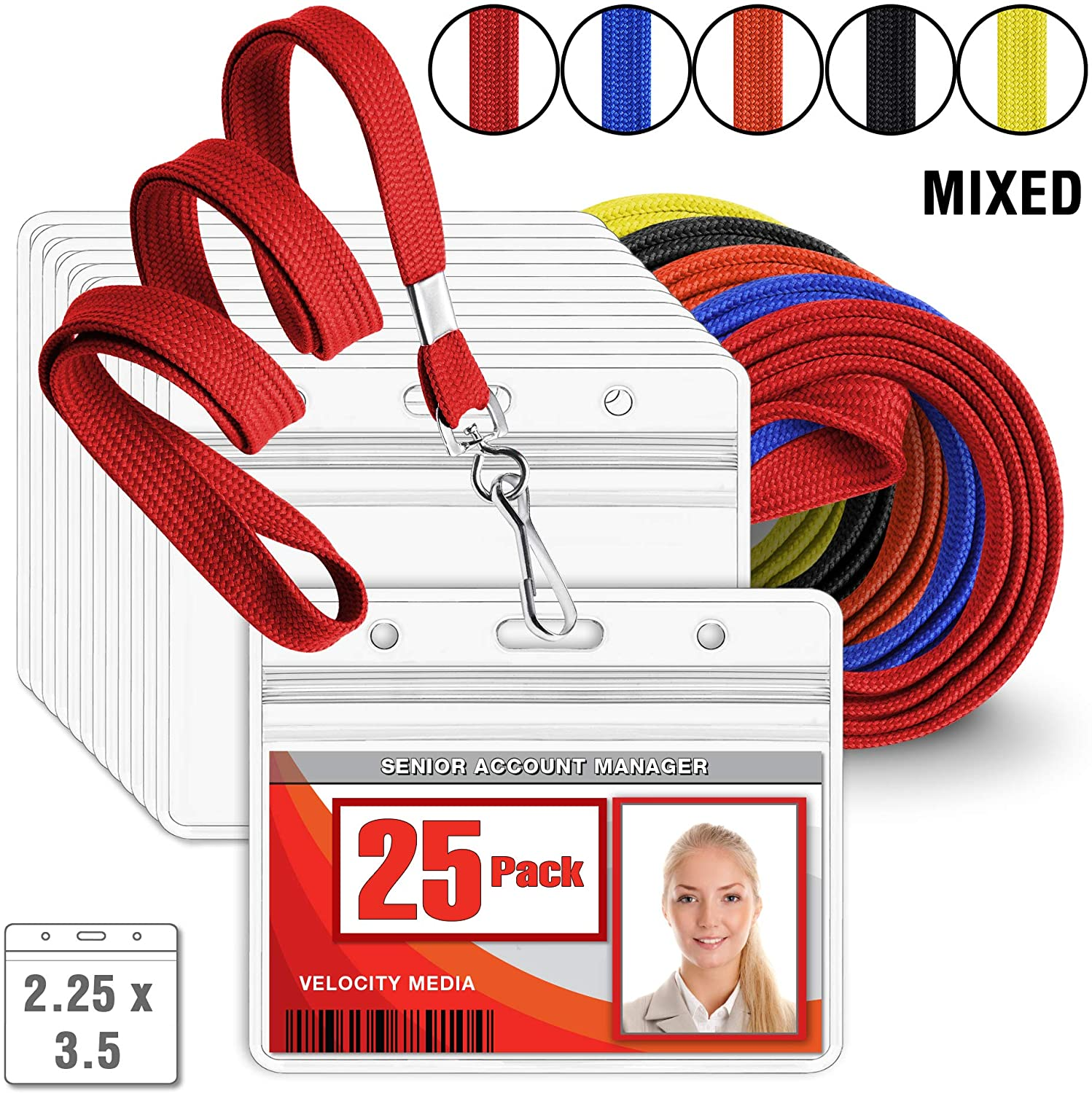 MIFFLIN Flat Lanyard with Horizontal ID Name Badge Holder Set (Mixed Lanyard, Clear 2.25x3.5 Inch Tag Holder, 25 Pack)