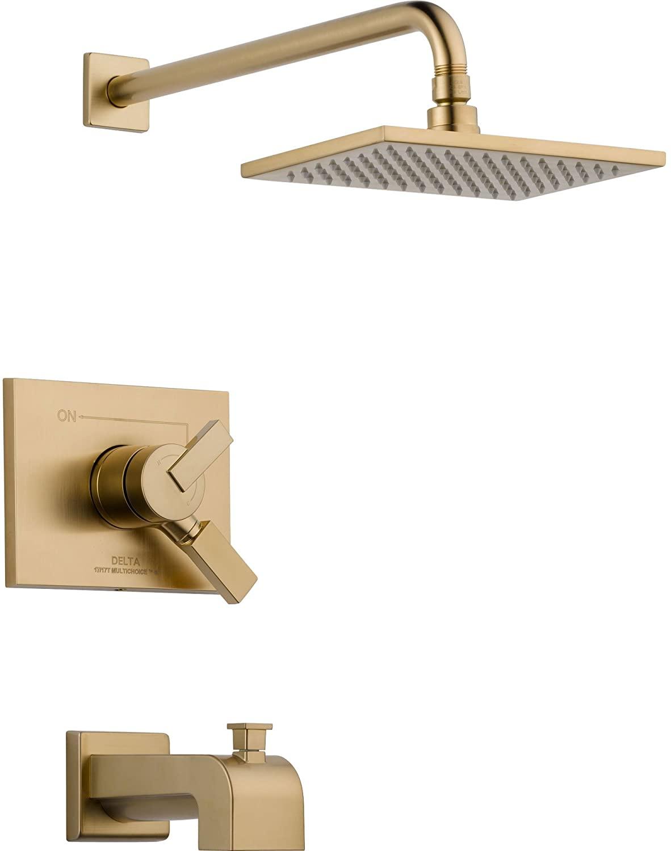 Delta Vero Champagne Bronze Square Two Control Tub and Shower with Valve D446V