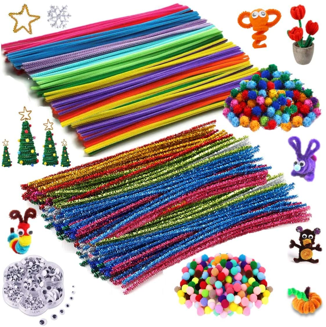 DOKOO -1450 Pcs Multi colorful Fiber Pipe Cleaner Chenille Stems Set -Arts and Crafts Supplies for Kids -Craft Art Supply Kit for Toddlers Age 3 4 5 6 7 8 9 -All in One D.I.Y. Crafts Arts Set for Kids