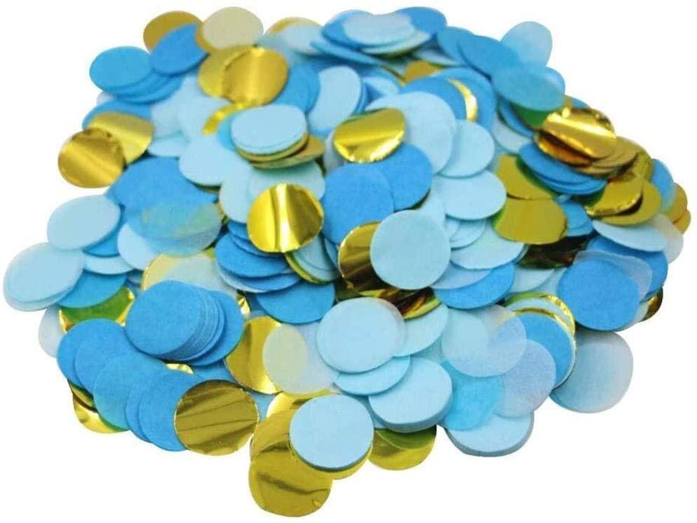 Multicolor Confetti for Parties- Eco Friendly Biodegradable Confetti Paper 0.98 inch Round Tissue Paper Table Confetti Dots for a Birthday, Wedding and for Decorations (Blue Gold White Confetti)