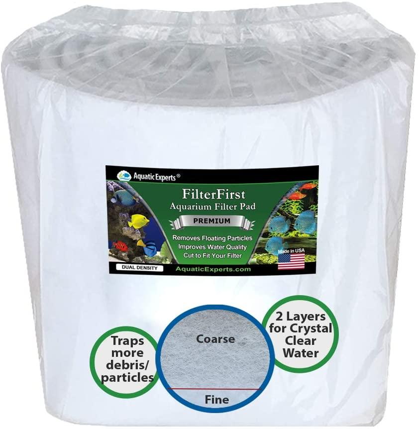 Aquatic Experts Aquarium Filter Media Roll - Premium True Dual Density Aquarium Filter Pad for Crystal Clear Water - Custom Made in USA