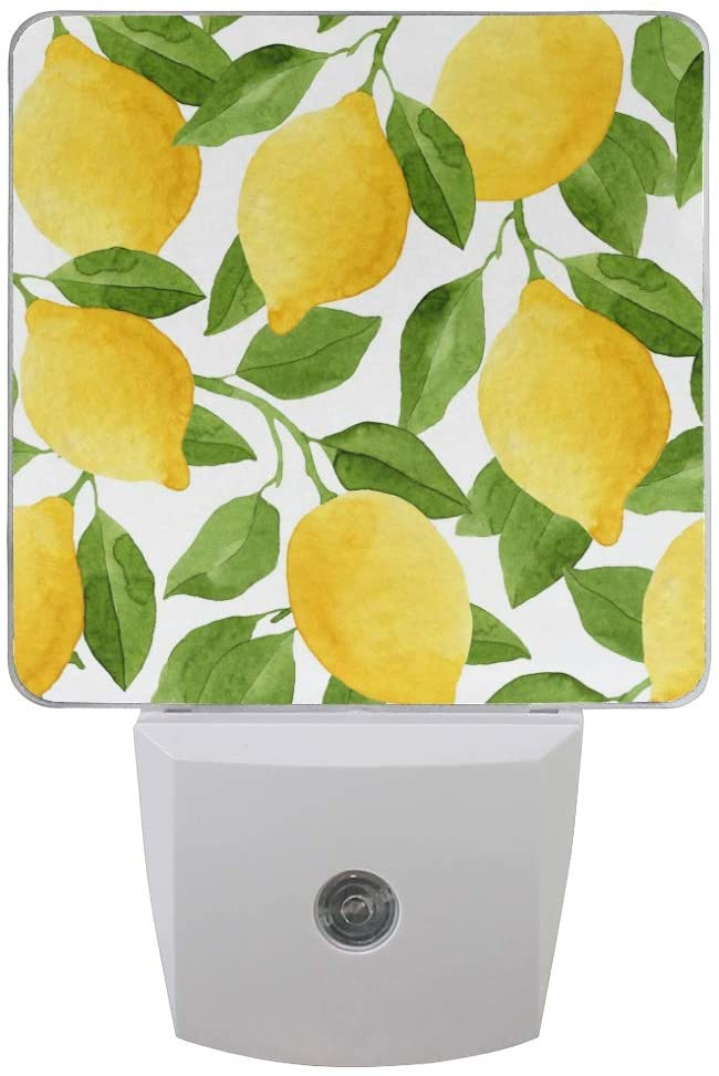 Naanle Set of 2 Watercolor Lemon Fruit with Green Leaf Pattern Bright Yellow Botanical Print Auto Sensor LED Dusk to Dawn Night Light Plug in Indoor for Adults