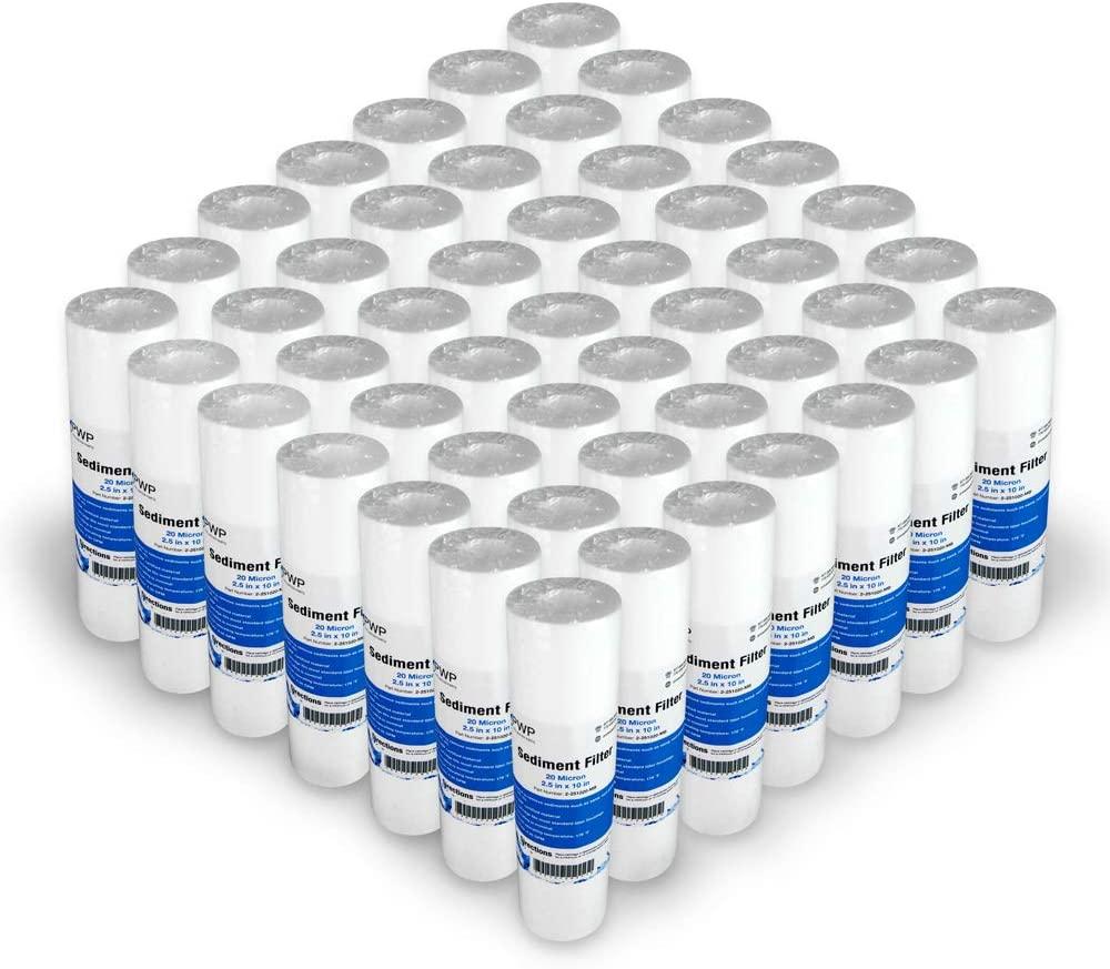 Sediment Melt Blown Water Filter Cartridge Standard 2.5x10 20 Micron 50 Pack