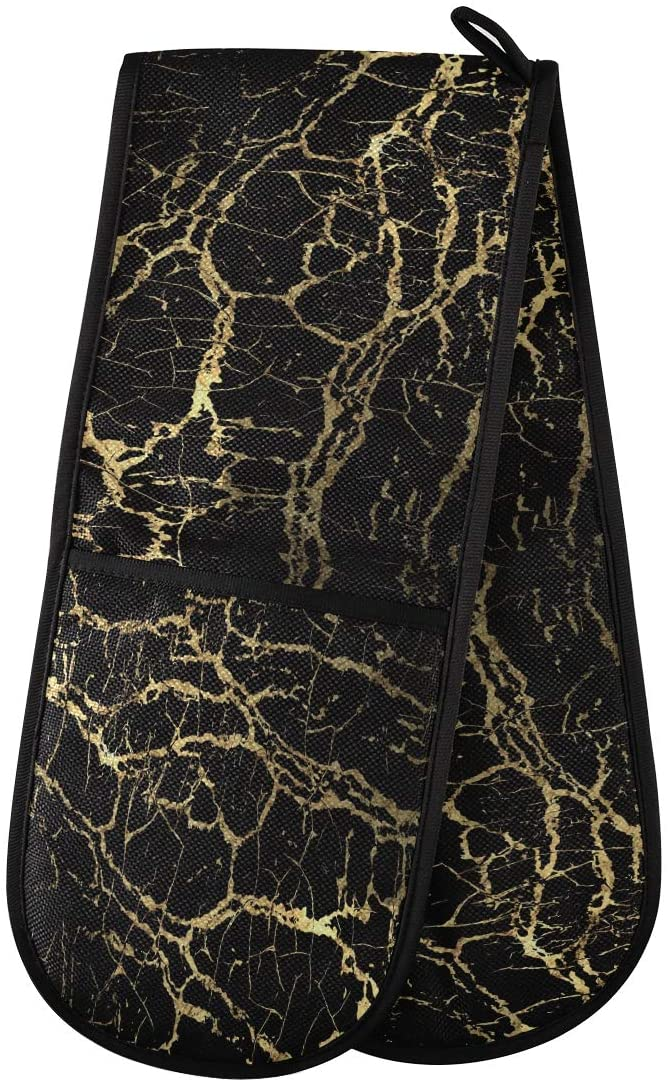 Boccsty Gold Marbling Texture Double Oven Mitts Stripe Black Potholder Insulated Hot Glove for Cooking BBQ Baking Dining Grilling Microwave