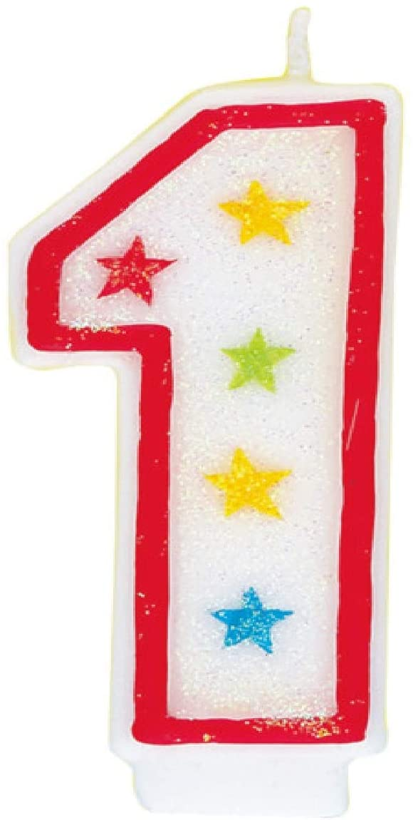 Glitter Number 1 Birthday Candle & Happy Birthday Cake Topper