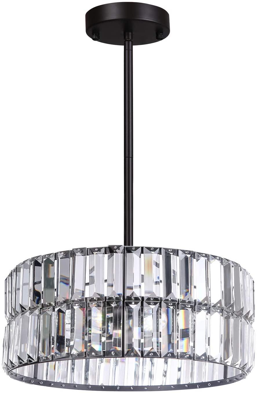 Galtalap Crystal Ceiling Light Crystal Chandelier ETL Listed Double Layer Lighting Flush Mount with Modern K9 Crystal Pendant Lamp for Dining Room, Bathroom, Bedroom, Living Room
