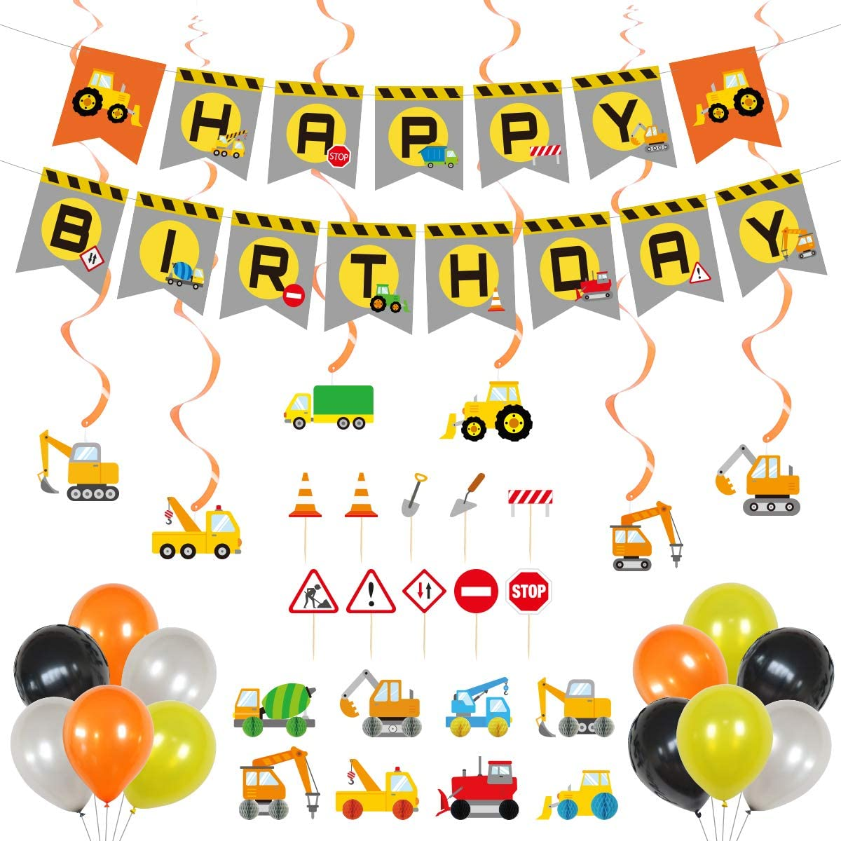 Construction Birthday Party Supplies | Dump Truck Party Decorations Kits Set| Include Happy Birthday Banner |Hanging Swirl |Orange Foil Balloons |Truck Cupcake Toppers |Truck Honeycomb