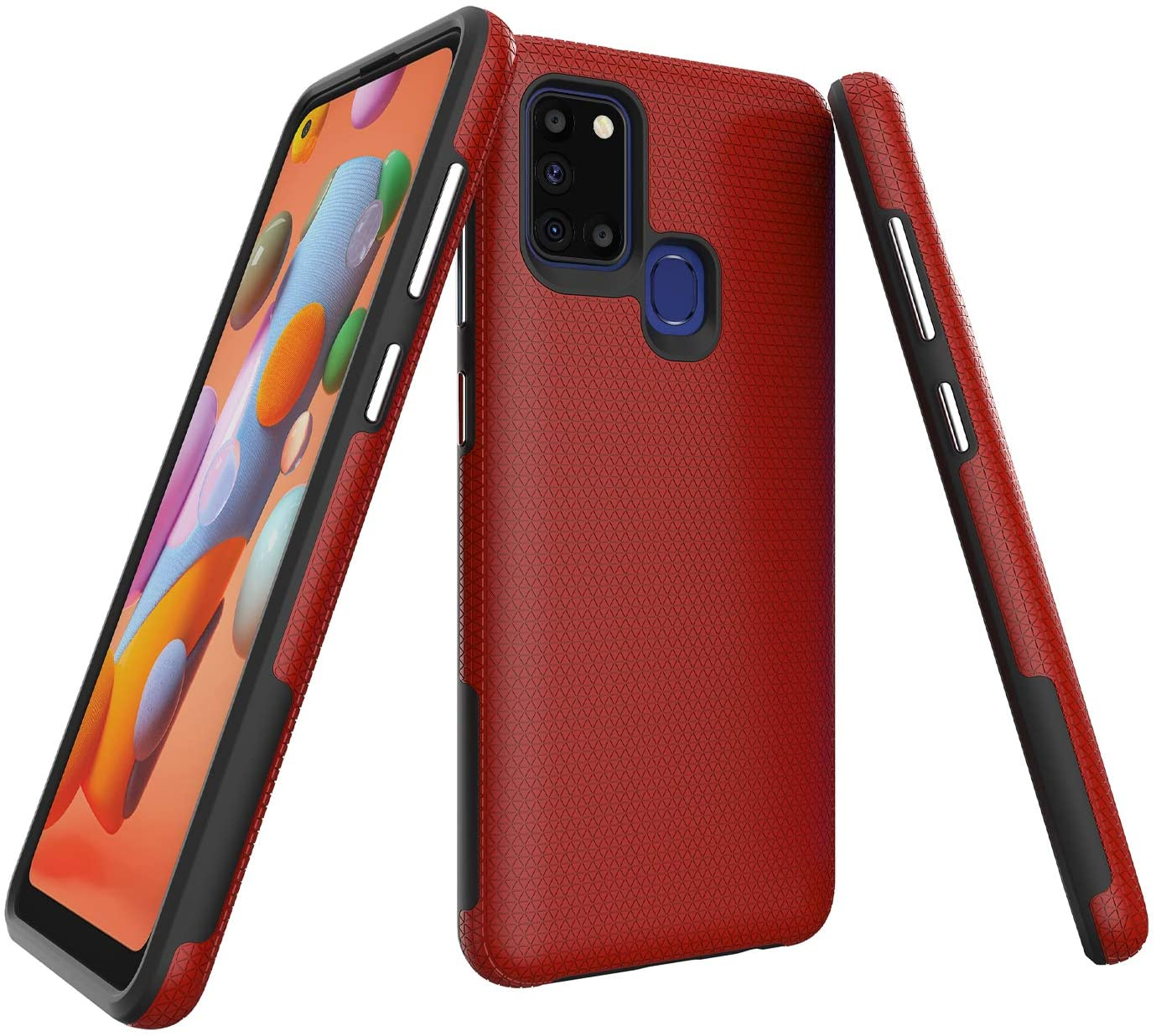 Ryphez for Samsung Galaxy A21S Case,Case for Galaxy A21S,[Dual Layer][Enhanced Grip][Anti-Scratch][Unique Rigid Texture][Independent Button] Hybrid Case for Galaxy A21S (Red)