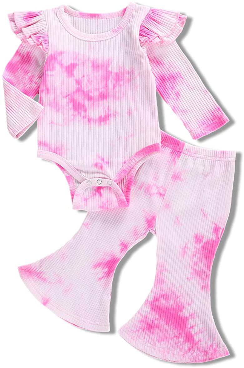 Baby Girl Knitted Ribbed Outfits Tie dye Long Sleeve Romper Bodysuit+ Bell-Bottomed Pants 2Pcs Fall Winter Clothes Set