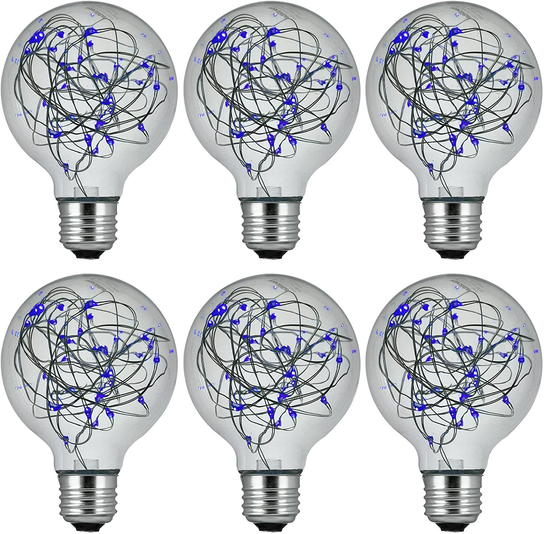 Sunlite 41014-SU LED G25 Globe Fairy Bulb String-Light Decorative Lightbulb, 6 Pack, Blue