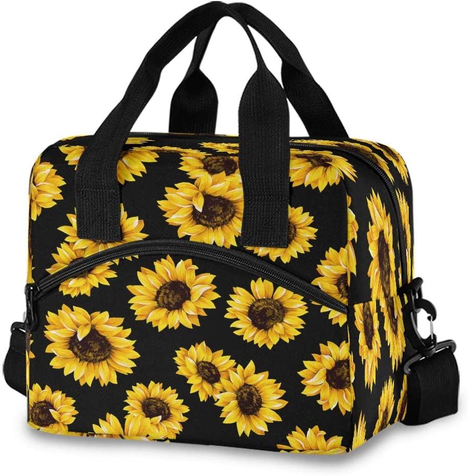 CCDMJ Lunch Bag Sunflower Floral Pattern Lunchbox Organizer Insulated Waterproof Men Women Tote Cooler Handbag Adjustable Shoulder Strap for kids Girls Boys School Office Picnic