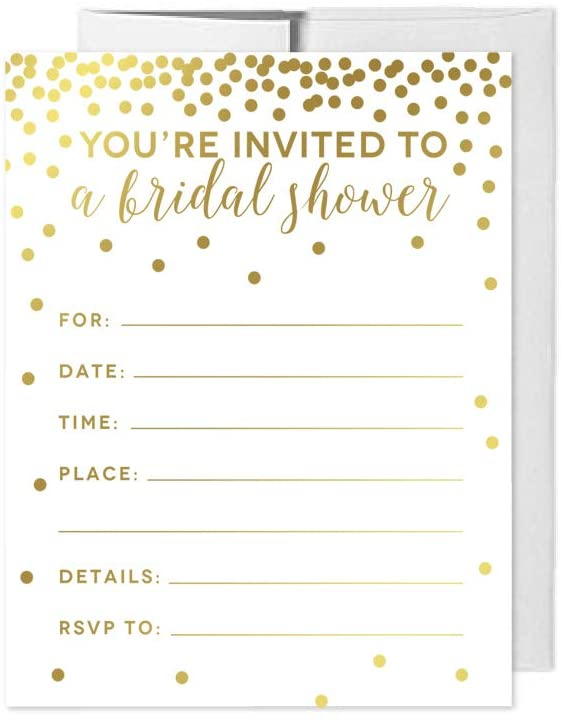 Andaz Press Metallic Gold Confetti Polka Dots Party Collection, Invitations with Envelopes, Bridal Shower, 20-Pack