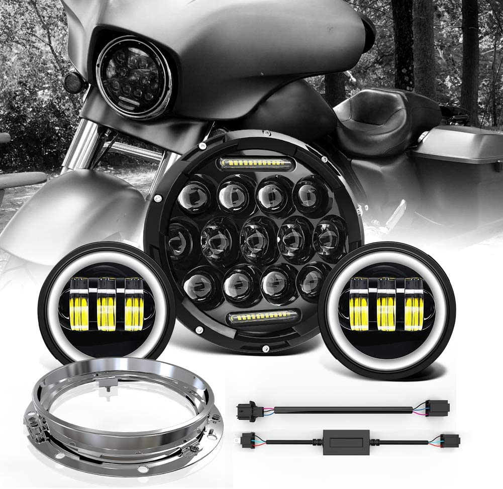 7Inch Round LED Headlight Assembly DRL High Low Beam+H4 H13 Adapter+Trim Ring Mounting Bracket+2x 4Inch 30W Black Halo Fog Lights For Harley Davidson Street Glide Road King Fatboy Motorcycle Projector