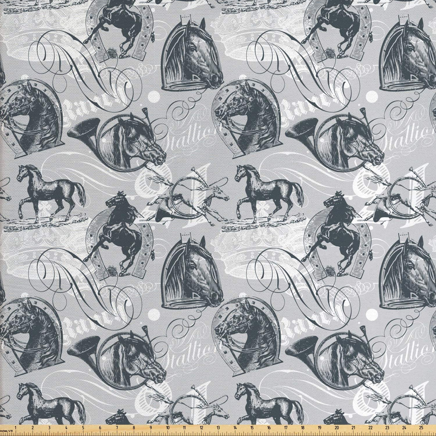 Ambesonne Horses Fabric by The Yard, Vintage Monochrome Sketch Stallion Swirls Calligraphic Design Animal Theme, Decorative Fabric for Upholstery and Home Accents, 3 Yards, Grey White