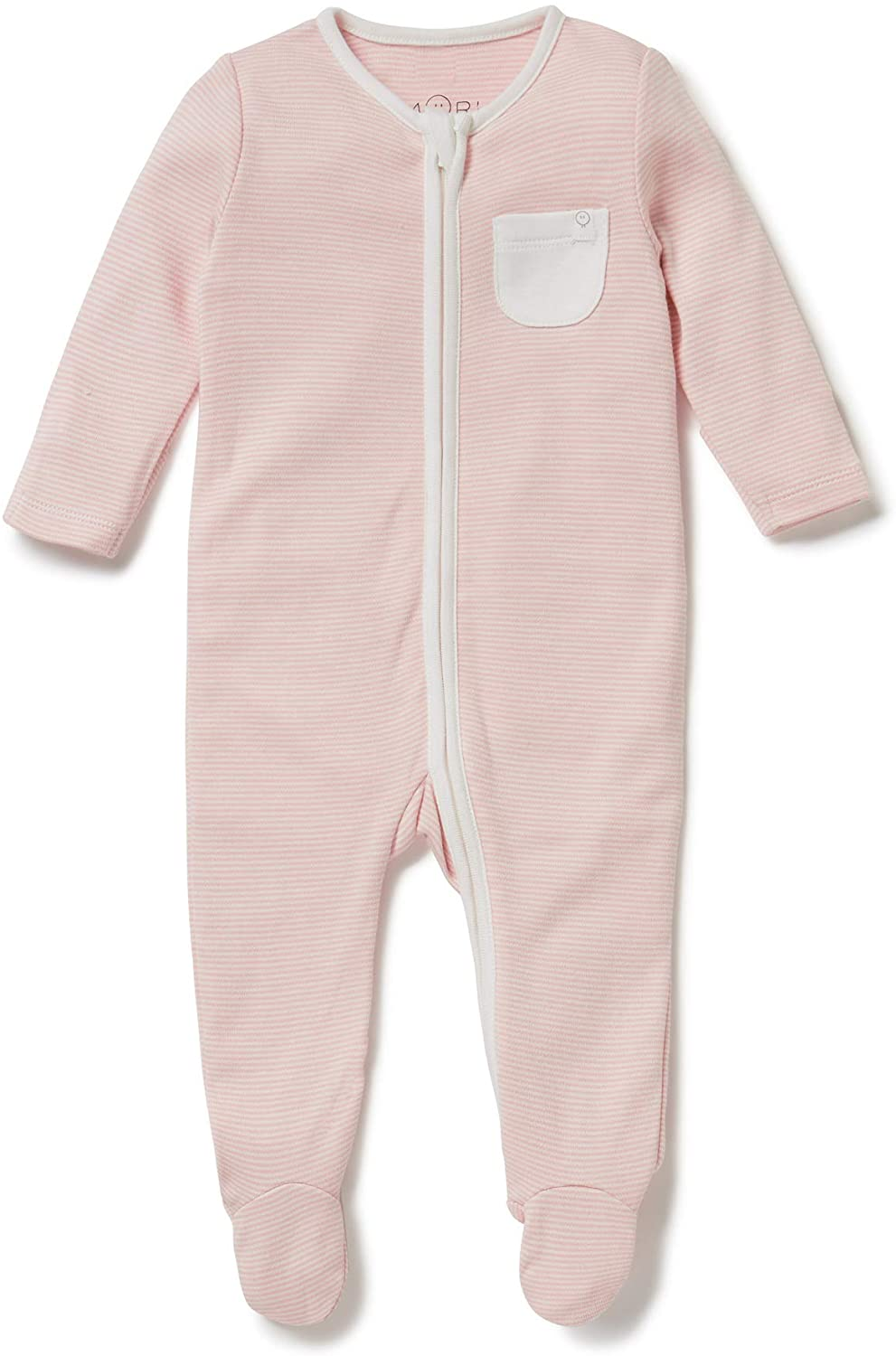 MORI Zip-Up Sleepsuit, Baby Girl Clothing, 30% Organic Cotton & 70% Bamboo, (Newborn, Blush Stripe)