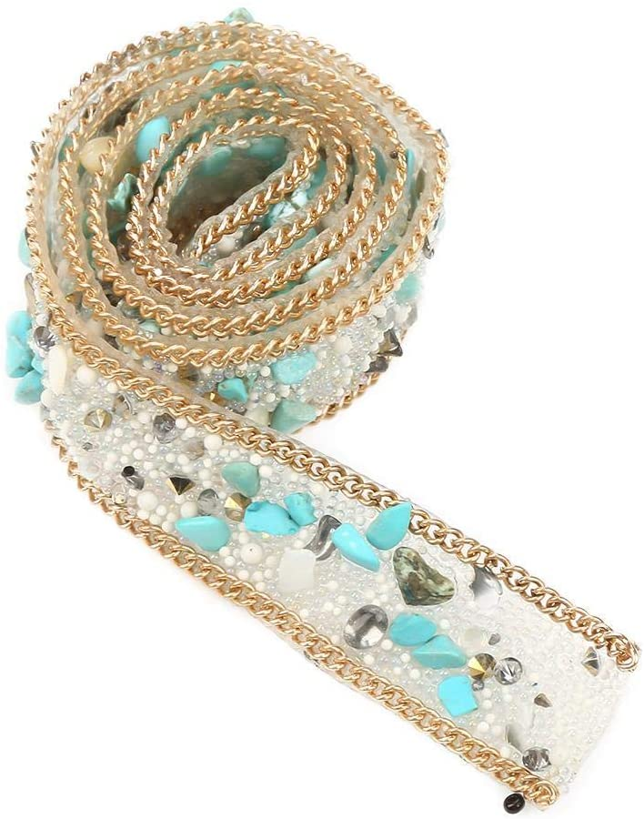 1M Diamond Ribbon Roll Crystal Beaded Rhinestone Crystals Trim Iron on Patch for Clothes Bag Shoes Wedding Party Decoration (Green + Rice Beads + Gold Chain)