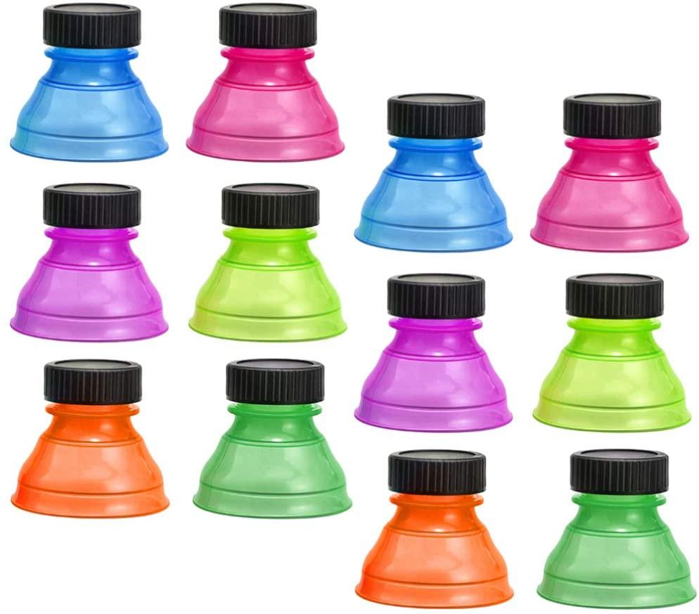 YARNOW 12pcs Beverage Can Caps Soda Can Lids Reusable Bottle Caps for Beverage Beer Energy Drinks (Random Color)