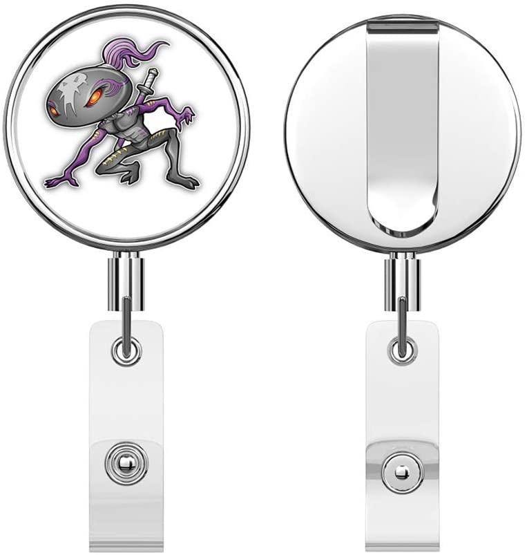 Cyborg Alien Ninja Warrior Round ID Badge Key Card Tag Holder Badge Retractable Reel Badge Holder with Belt Clip
