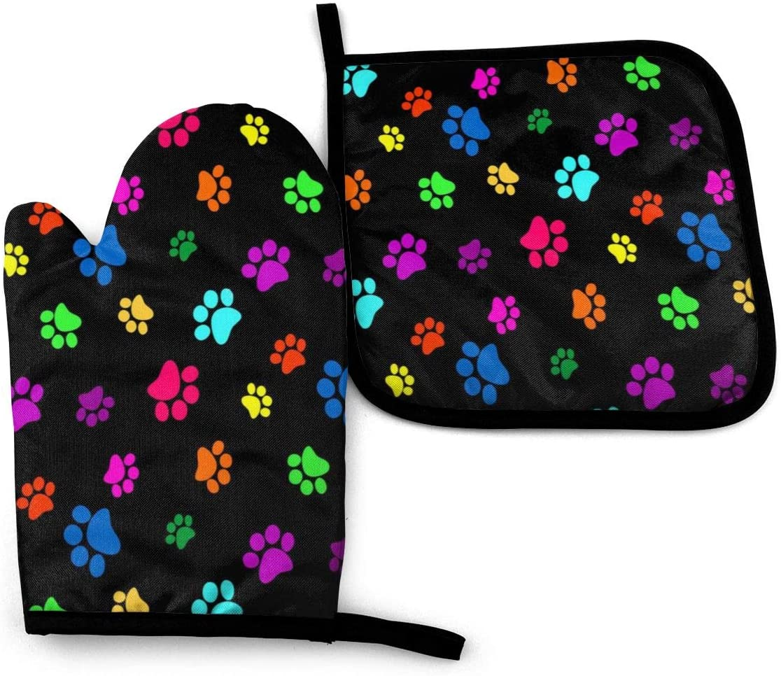 Ja Yhou dontcy Colorful Dog Cat Paw Print Oven Mitts, Non-Slip Silicone Oven Mitts, Extra Long Kitchen Mitts, Heat Resistant to 500Fahrenheit Degrees Kitchen Oven Gloves