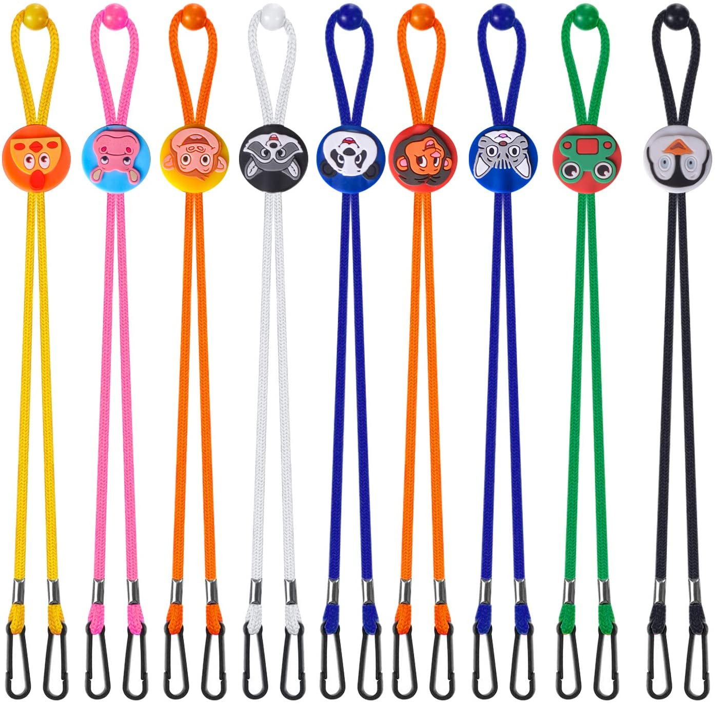 9 Pieces Kids Cartoon Adjustable Face Cover Lanyard Face Cover Lanyard Neck Strap Buckles Holder Flexible Bib Clips for Boys and Girls (9, Cartoon)
