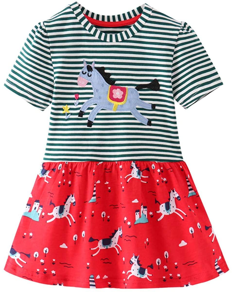 UnionKK Baby Girls Casual Dress Cotton Kids Outfit Summer Short Sleeve Dresses 2-7 Years