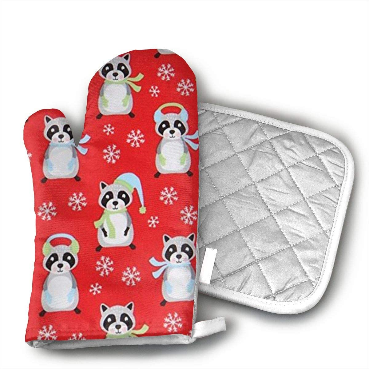 antcreptson Red Raccoon Snowflake Christmas Traditional Oven Mitts Insulation Gloves and Pot Holder Set Heat Resistant Gloves Kitchen Cooking for Barbeque Microwave Oven with Soft Inner Lining