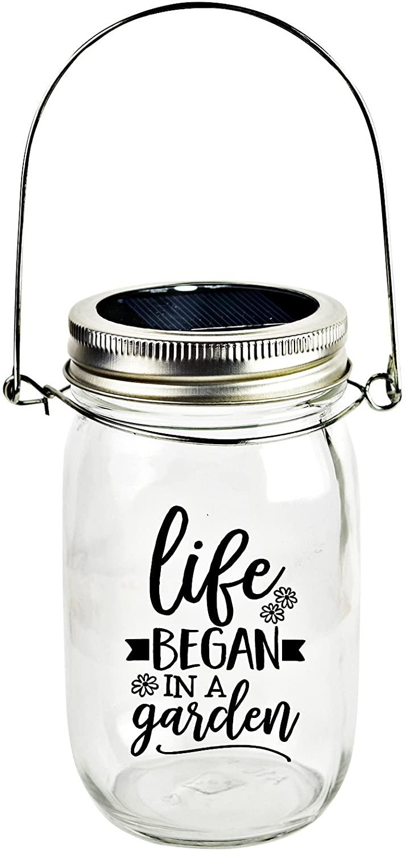 Dexsa Solar Canning Jar LED Light - Automatic and Safe, Illuminates Using Solar Power, Solar Panel, LED Glow | Modern Farmhouse | Life Began in a Garden