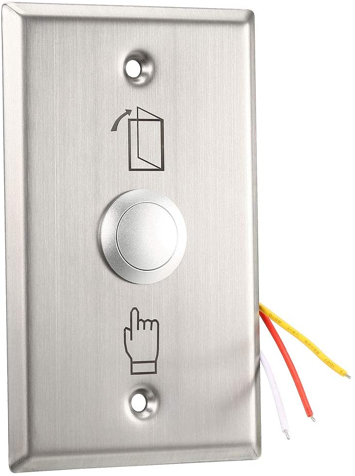 uxcell Door Release Button Push to Exit Resettable NO/NC/COM Switch for Access Control Panel 115mmx70mm 36V 3A Stainless Steel