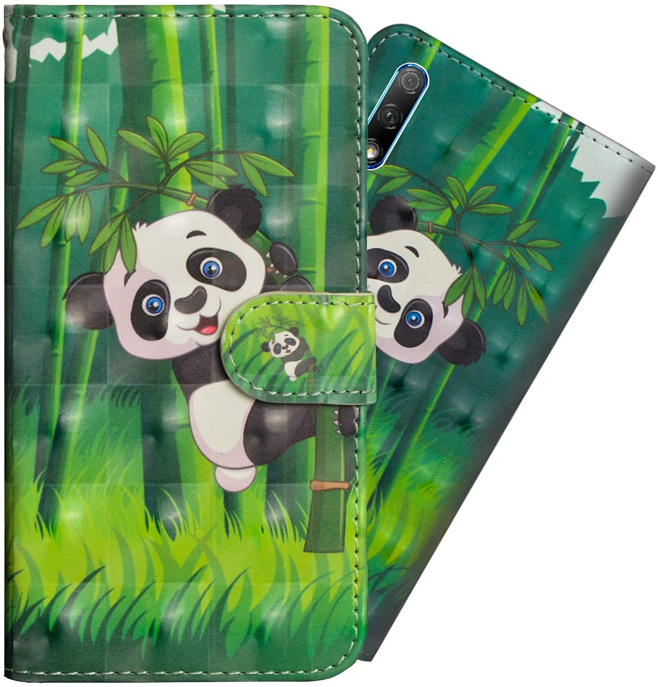 ZYZX Huawei Honor 9X Case, with Kickstand and Credit Cards Slot 3D Full Stylish Shockproof PU Leather Flip Magnetic Wallet Phone Cover for Huawei Honor 9X Pro-Panda Pattern