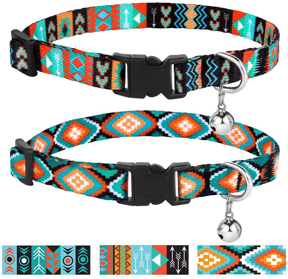 CollarDirect Cat Collar Breakaway Set of 2 PCS Tribal Pattern Aztec Pet Safety Adjustable Kitten Collar with Bell